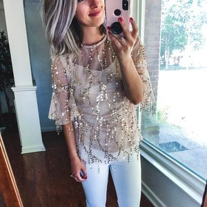 Hayden Los Angeles Gold Sequin Blouse Small